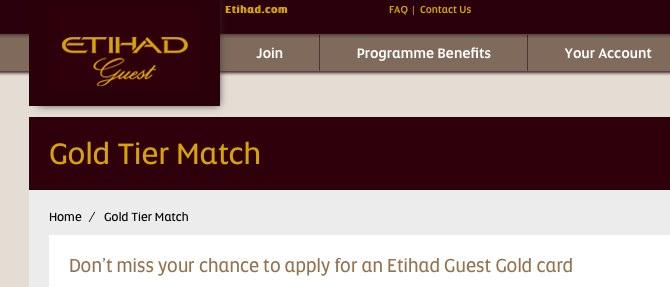 Etihad Guest status match