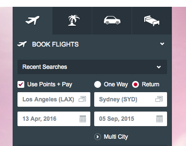 Virgin Australia Points Search