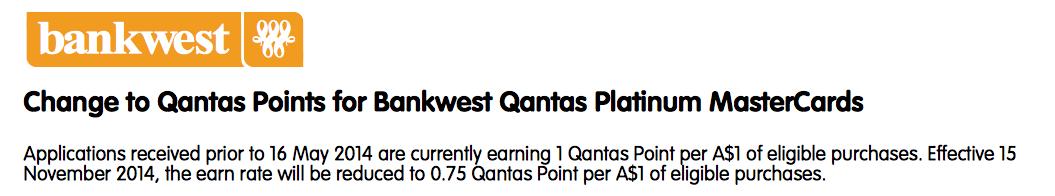 Bankwest Qantas point earn change