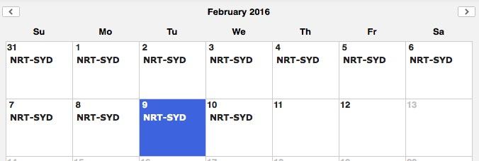 JL First Availability NRT-SYD Feb 2016