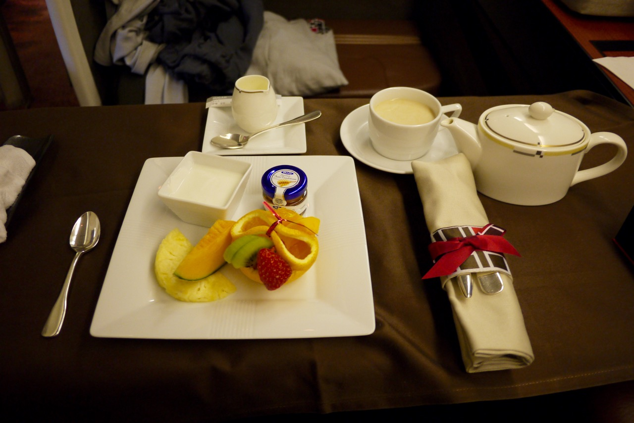 Breakfast - Japan Airlines JL771 NRT-SYD First Class Review | Point Hacks