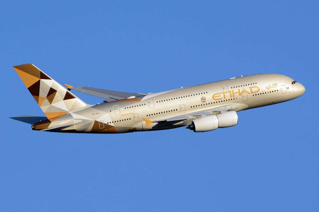 Etihad Airways Airbus A380-861 in flight | Point Hacks