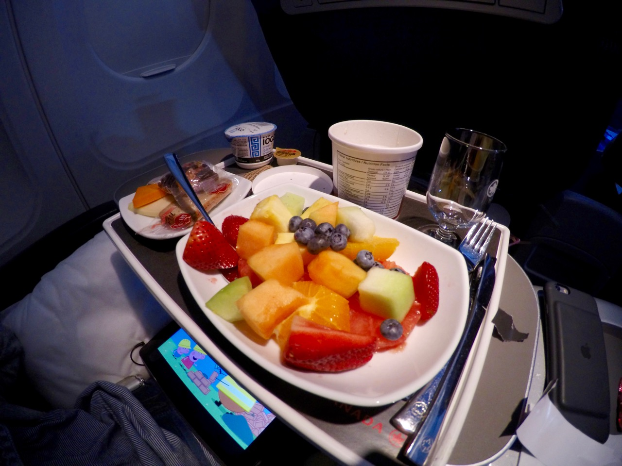 Fruit plate served in Air Canada's A319 Business Class | Point Hacks