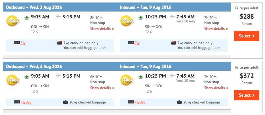 Flight Deal Scoot August 2016 OOL-SIN
