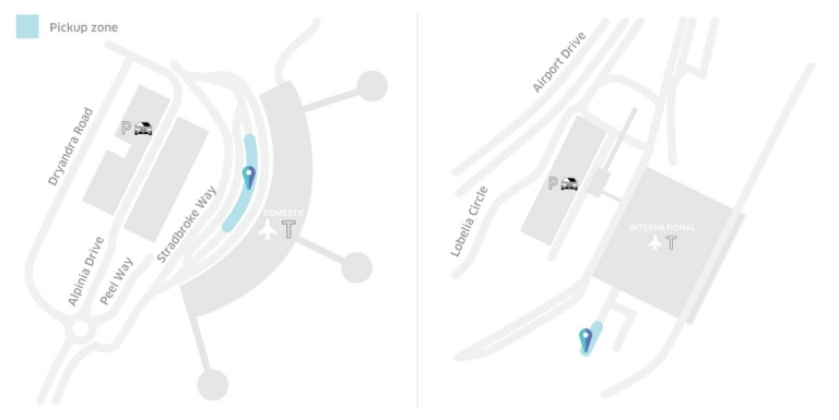 Brisbane Airport Uber pickup zone map