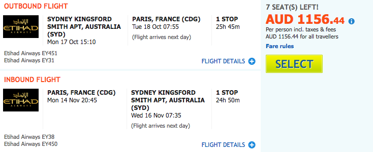 Flight Deal EY SYD-PAR