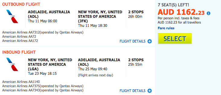 Flight Deal AA ADL-NYC a