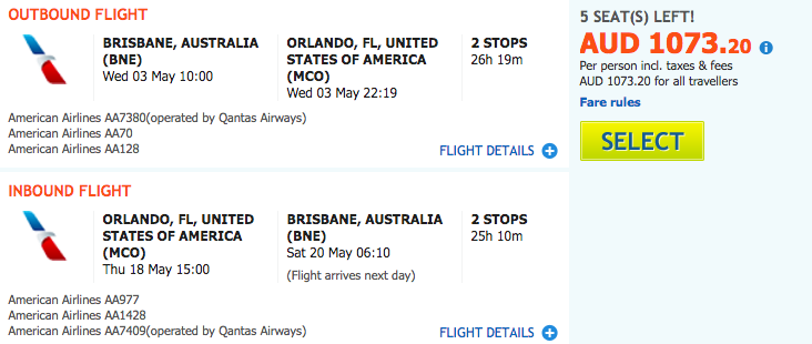 Flight Deal AA BNE-MCO