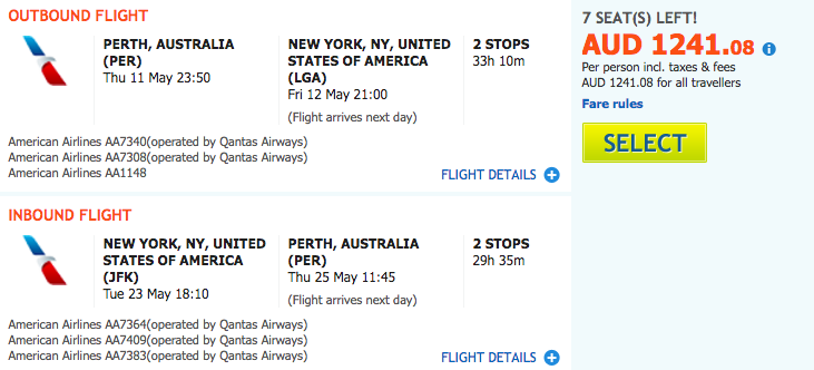 Flight Deal AA PER-NYC