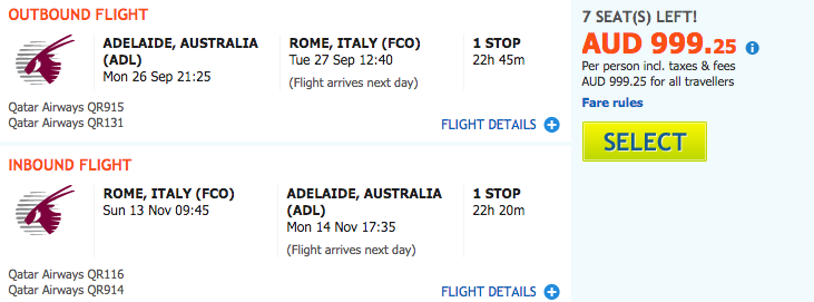 Flight Deal ADL-FCO QR