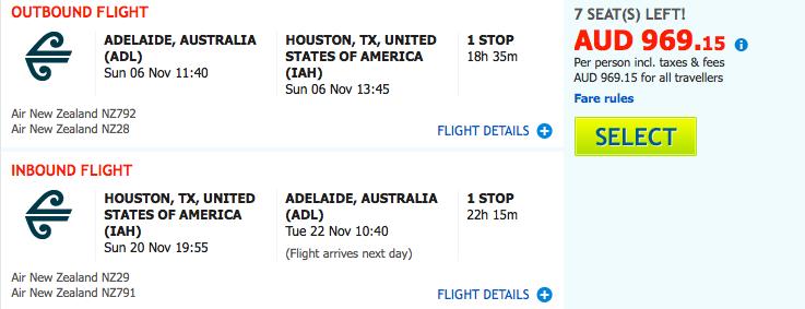 Flight Deal Air NZ ADL-IAH