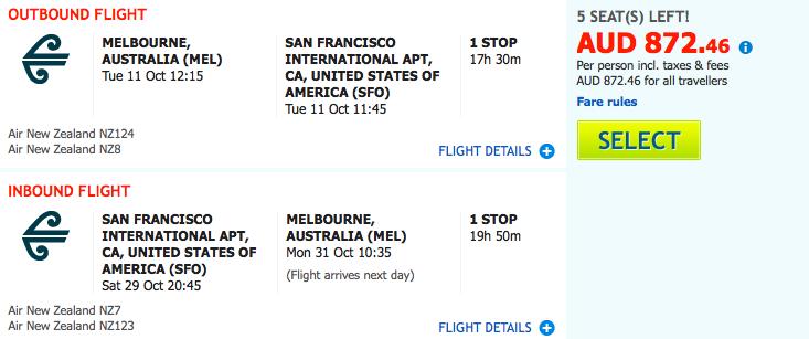 Flight Deal Air NZ MEL-SFO