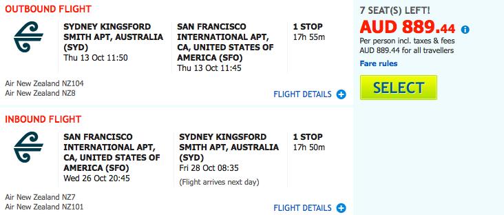 Flight Deal Air NZ SYD-SFO