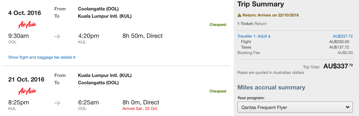 Flight Deal AirAsia OOL-KUL
