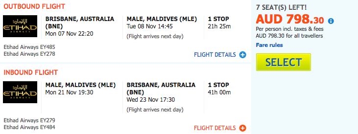 Flight Deal BNE-MLE