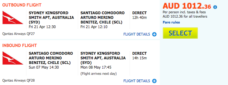 Flight Deal Qantas SYD-SCL