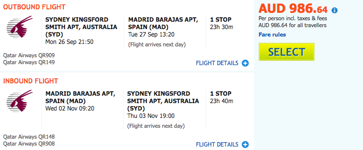Flight Deal SYD-MAD QR