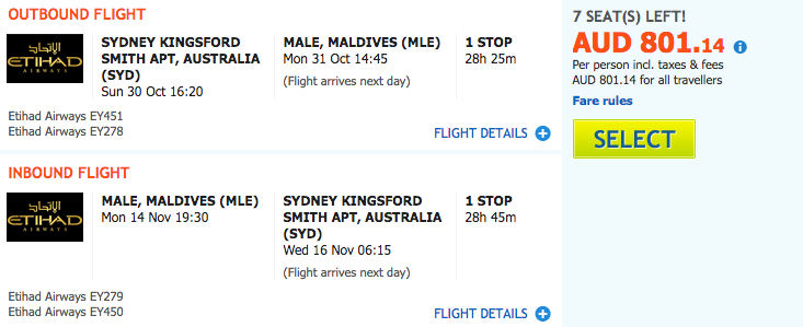 Flight Deal SYD-MLE
