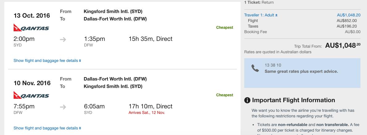 Qantas Global Dream Sale SYD-DFW