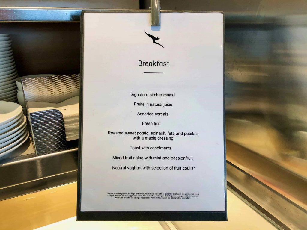 Qantas International Business Lounge Sydney food menu