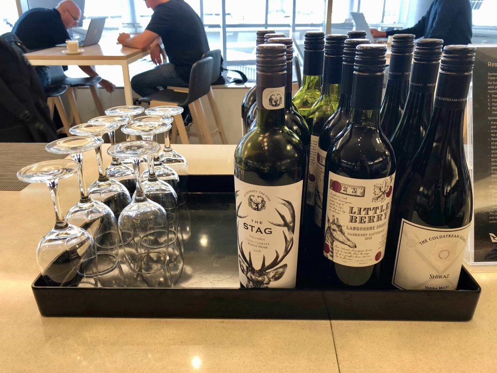 Qantas International Business Lounge Sydney wine