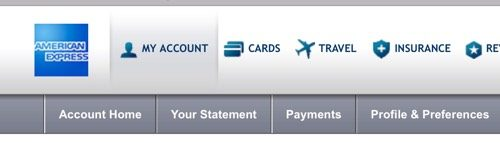 AMEX Travel Platinum menu