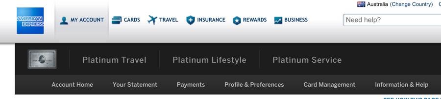 AMEX Travel Platinum menu