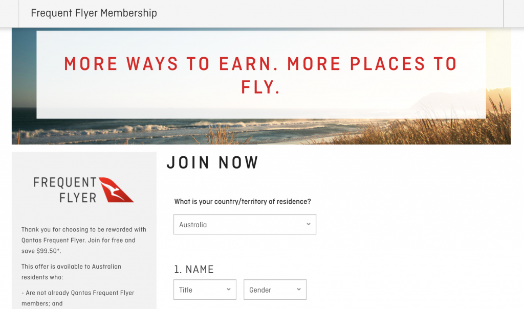 Qantas sign-up page