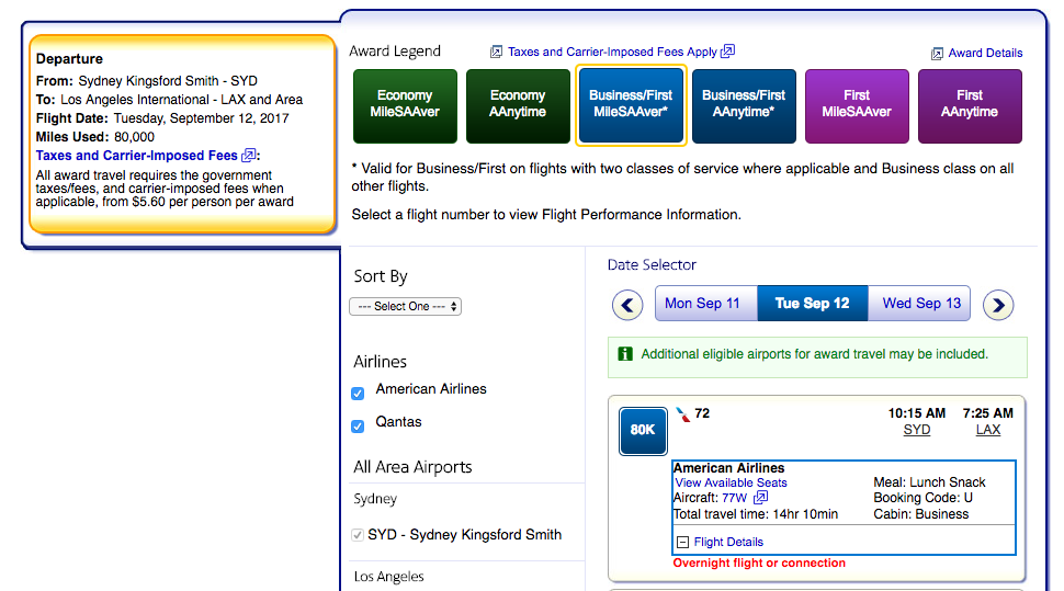 American Airlines award availability