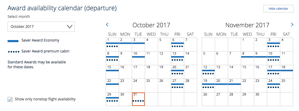 United website award availability calendar