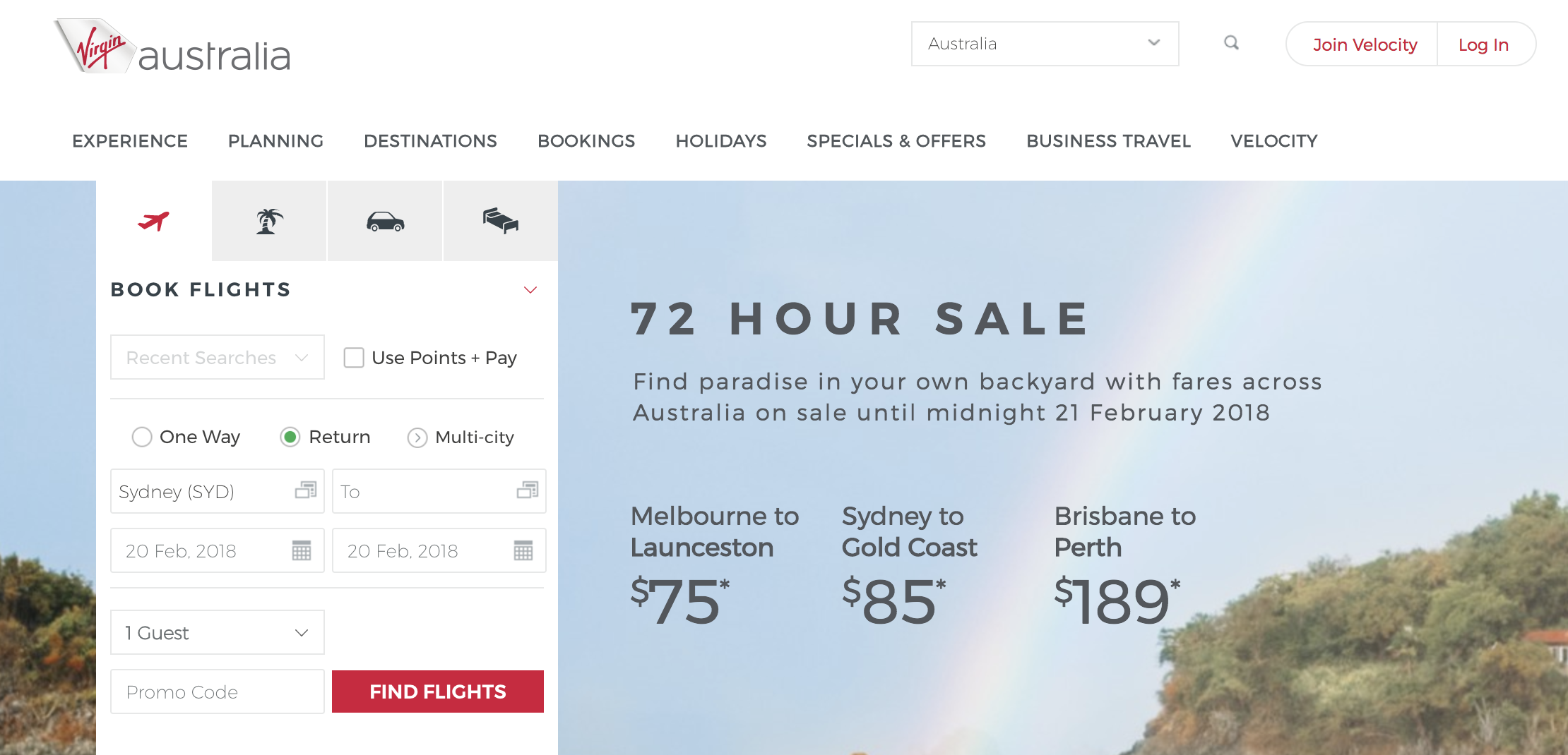 Virgin Australia website
