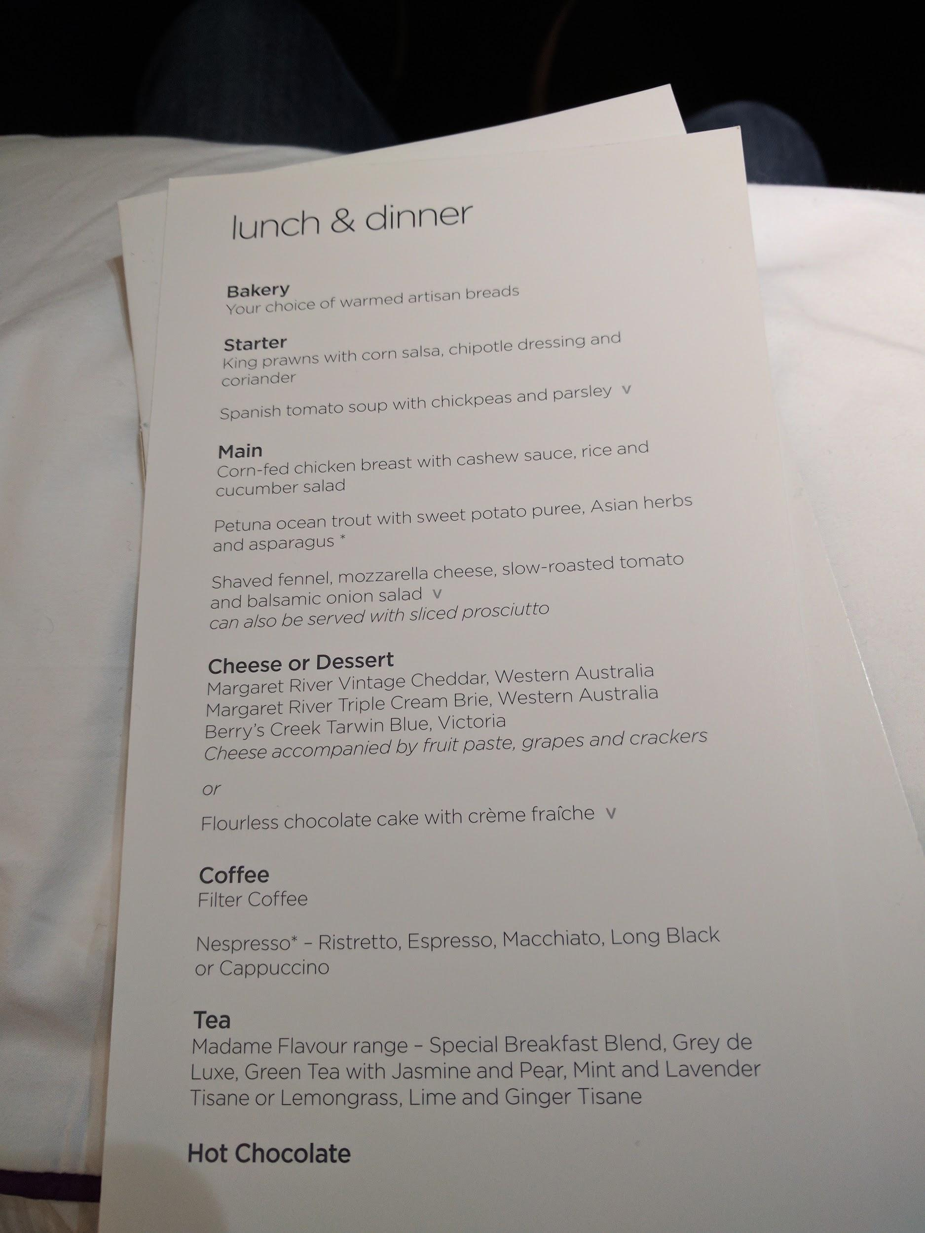 Virgin Australia sample menu