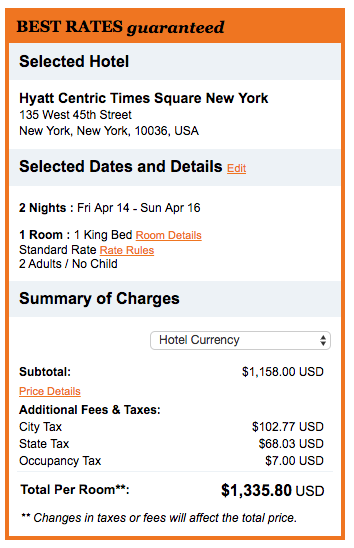 Hyatt Centric Times Square New York booking direct