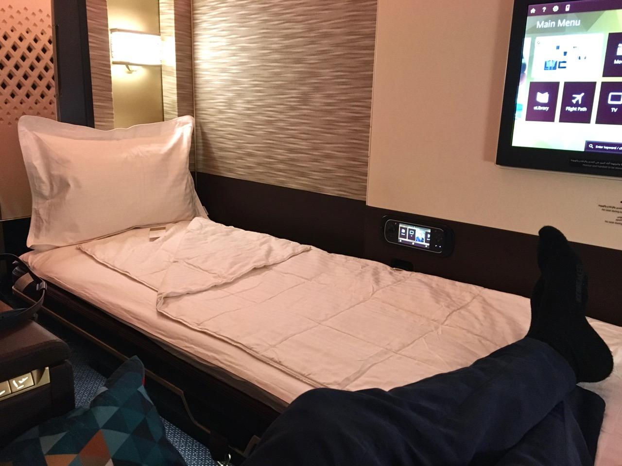 Etihad A380 First Class Apartment lie-flat bed