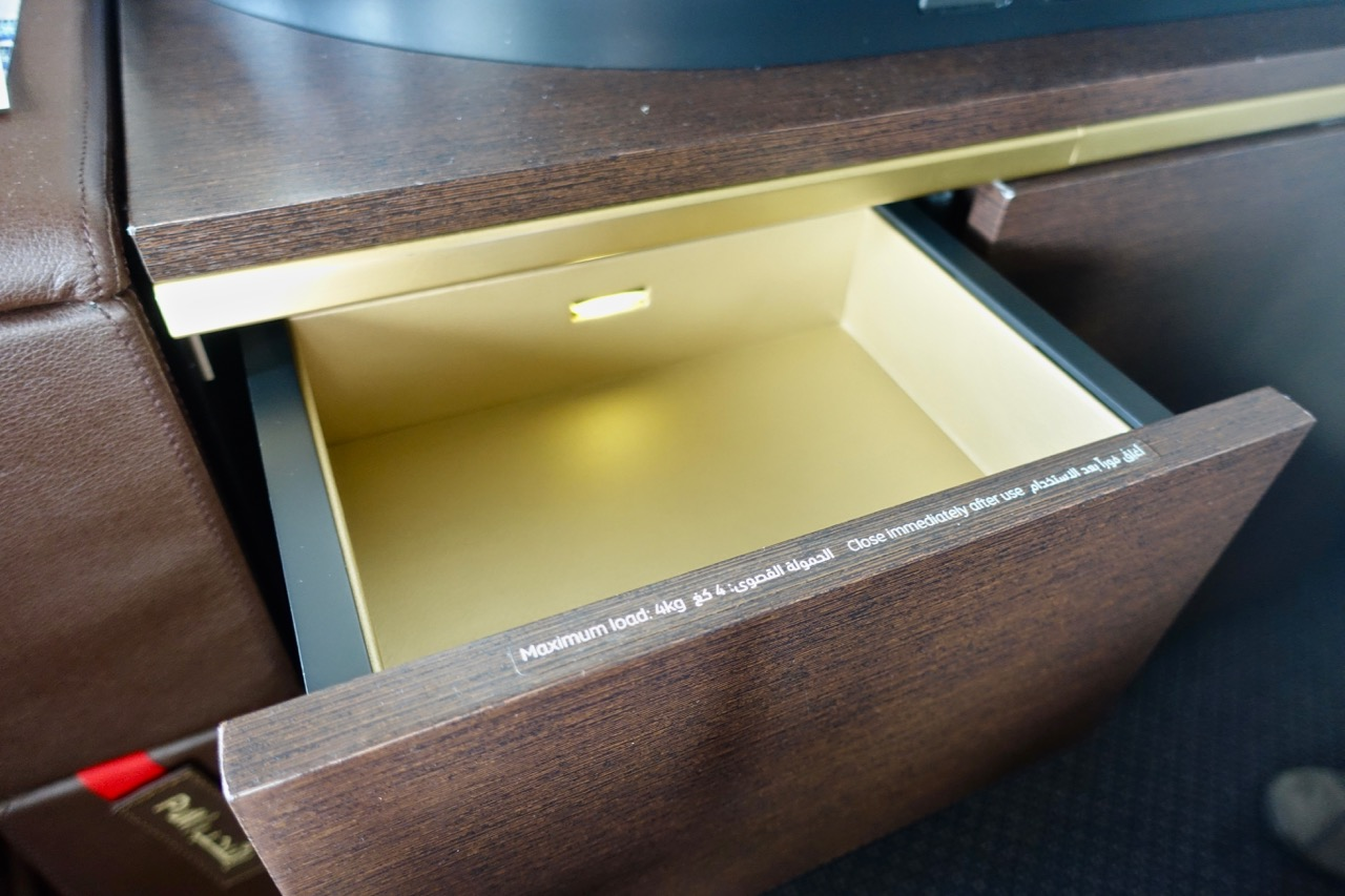 Etihad A380 First Class Apartment drawer
