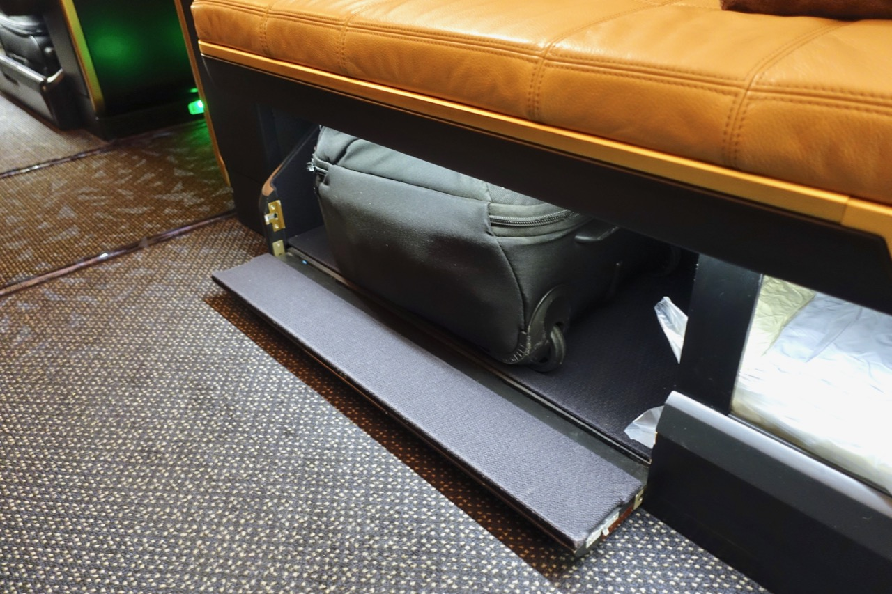 Etihad A380 First Class Apartment storage under the bench