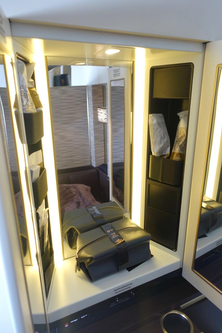 Etihad A380 First Class Apartment inflight shower