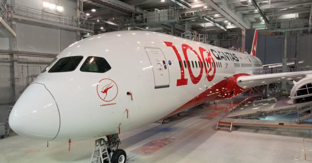 Qantas plane in hangar