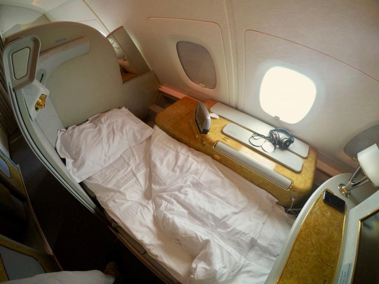Emirates A380 First Class lie-flat bed