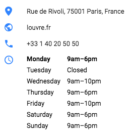 Louvre Museum schedule from Google