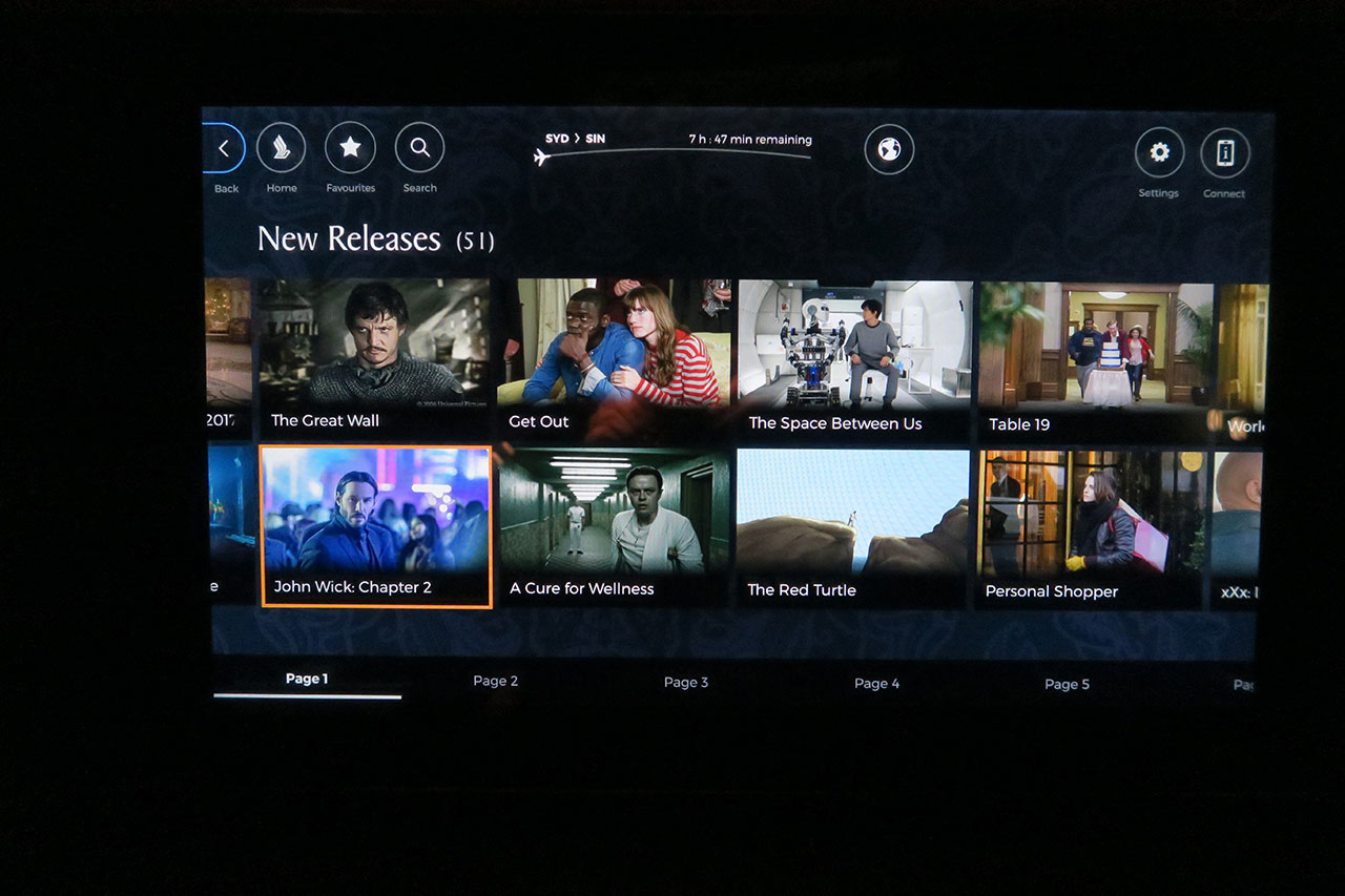 Singapore Airlines 777-300ER First Class inflight entertainment