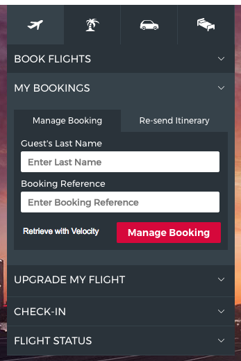 Virgin Australia website mange booking