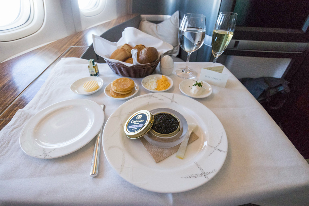 Cathay Pacific 777 First Class food