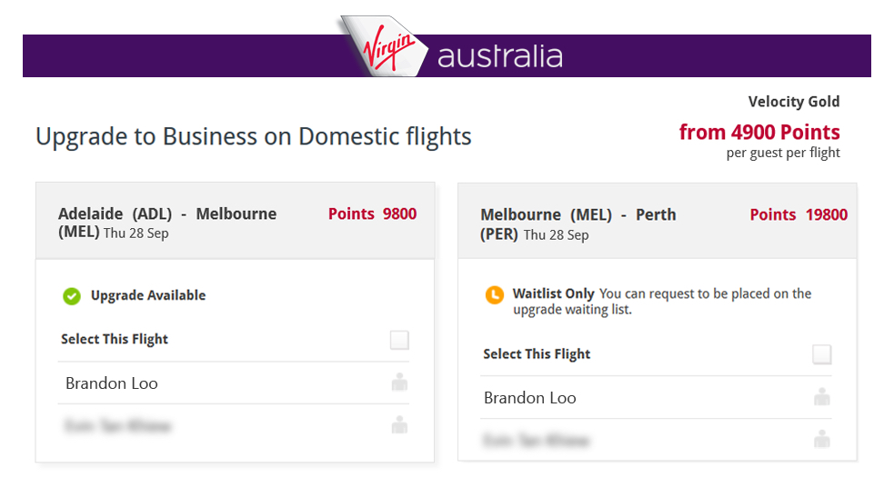 Virgin Australia upgrade to Business on Domestic flights