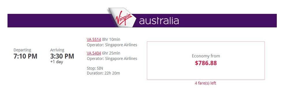 Virgin Australia codeshare Singapore Airlines flight