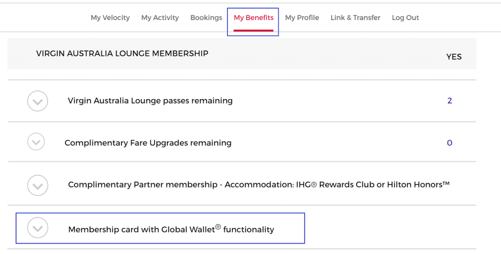 Velocity Frequent Flyer My Benefits Global Wallet_1