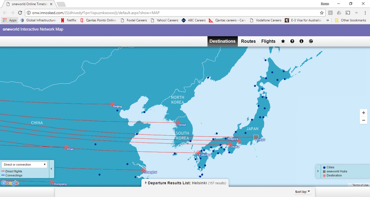 oneworld Interactive Network Map