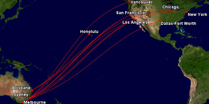 Qantas Australia - USA routes