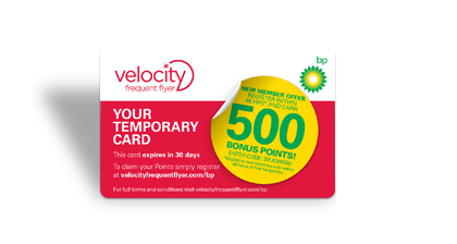 Temporary BP Card | Velocity Frequent Flyer and BP