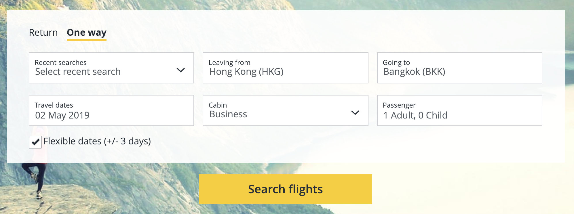 Cathay Pacific Asia Miles flight search